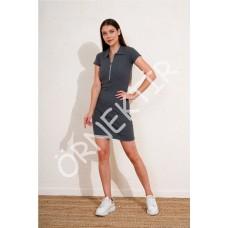 Fermuarlı Yakalı Fitilli Elbise